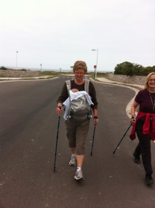 Nordic Pole Walking with a baby in a snuggly. You can do it!